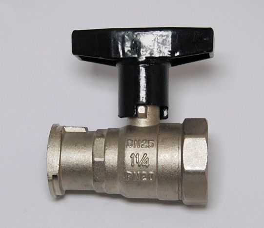 """ISO Pumpenkugelhahn 1 1/4"""" Innengewinde x Flansch (1 1/2""""-DN 25) mit Alu-Griff"""