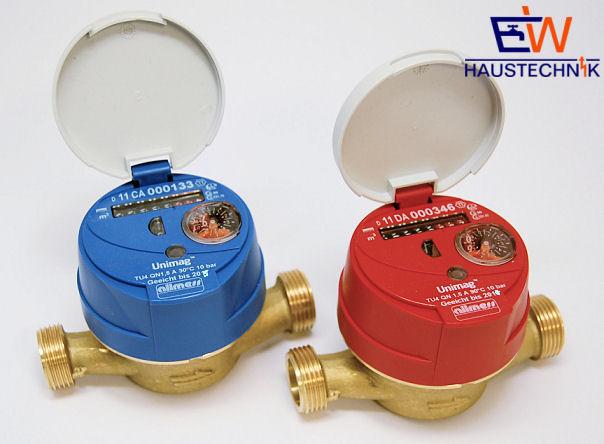 """ALLMESS Wasserzähler Kalt-Warmwasser DN 15 1,5 m³/h Länge 110 mm Anschluss 3/4"""""""