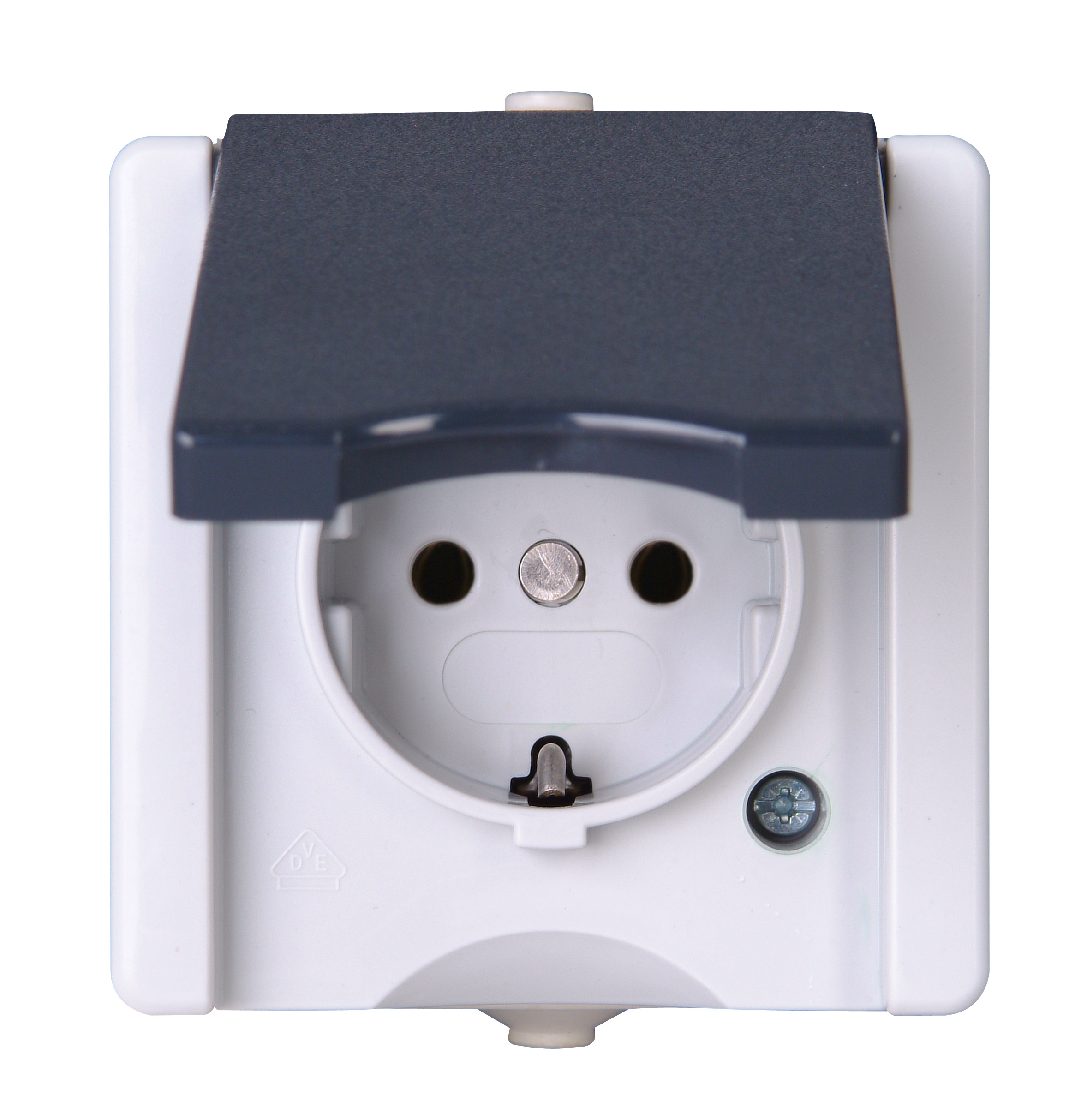 Kopp Feuchtraum Schalter Aufputz Schutzkontakt-Steckdose mit Deckel Serie proAQA