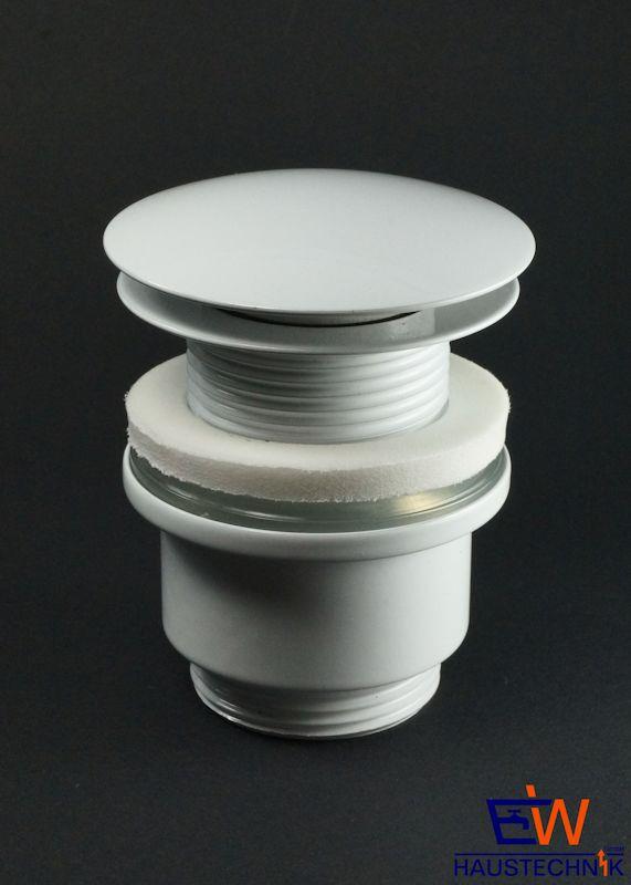 ablaufgarnitur mit push druckfunktion f r waschtisch ohne berlauf wei. Black Bedroom Furniture Sets. Home Design Ideas