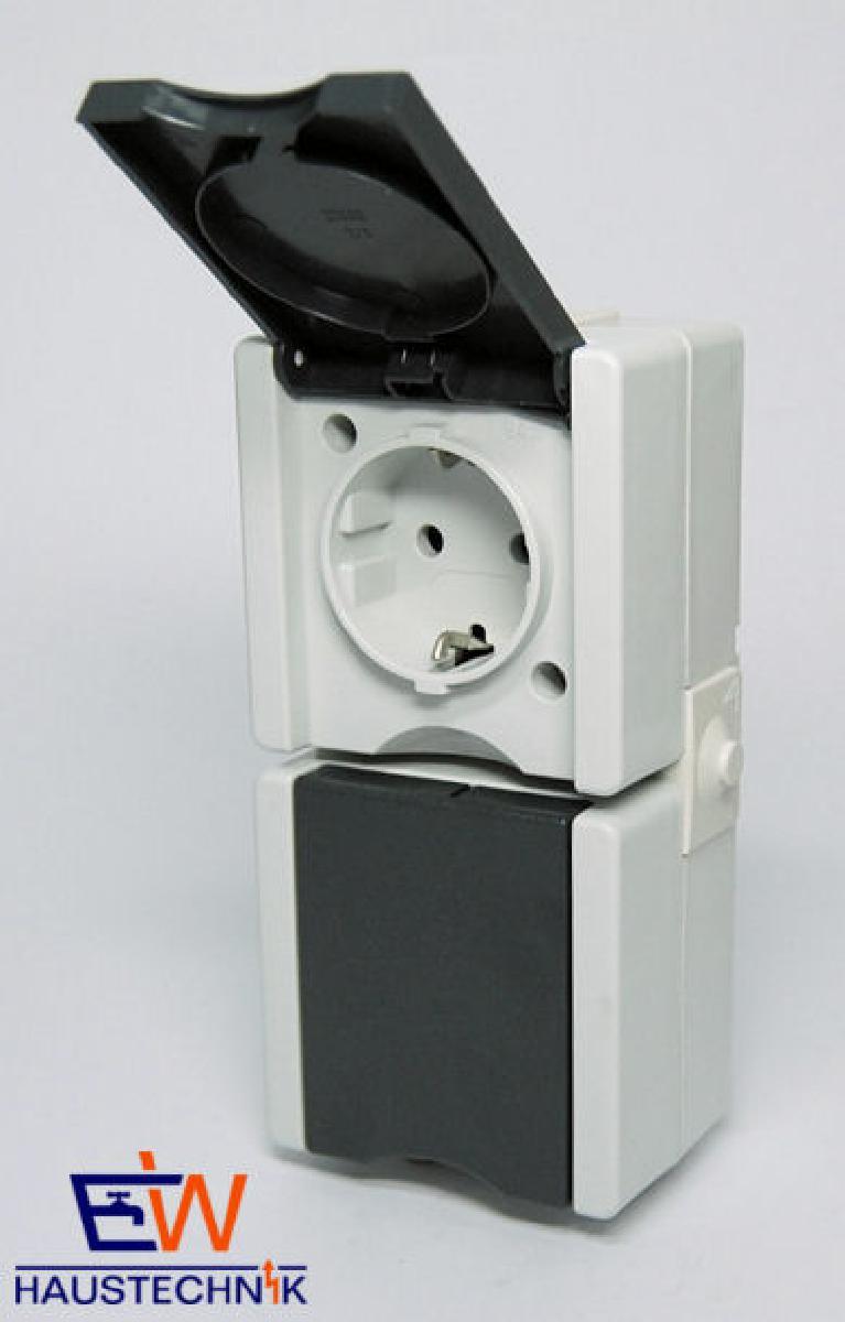 kopp feuchtraum schalter aufputz schutzkontakt steckdose 2. Black Bedroom Furniture Sets. Home Design Ideas