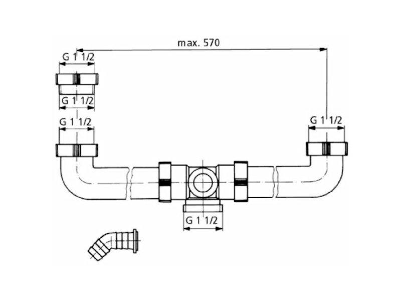 tecuro ablaufverbindung f r doppel sp lbecken extra lang. Black Bedroom Furniture Sets. Home Design Ideas